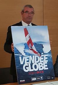 Yves Auvinet présentant l'affiche du Vendée Globe 2016