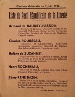 Feuillet pour les élections législatives en Vendée 1946