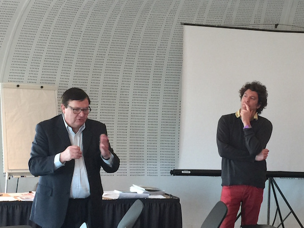 Christian Brulard et Christophe Guibert présentant la formation.