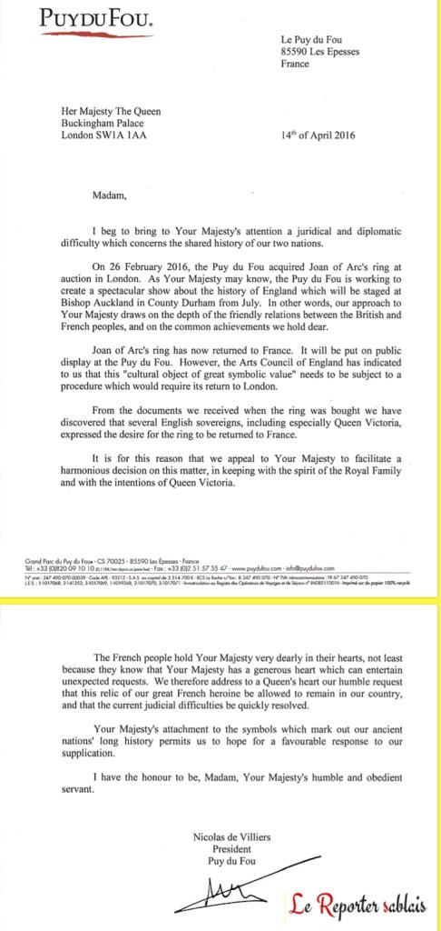 Lettre de Nicolas de Villiers à la Reine Elisabeth II