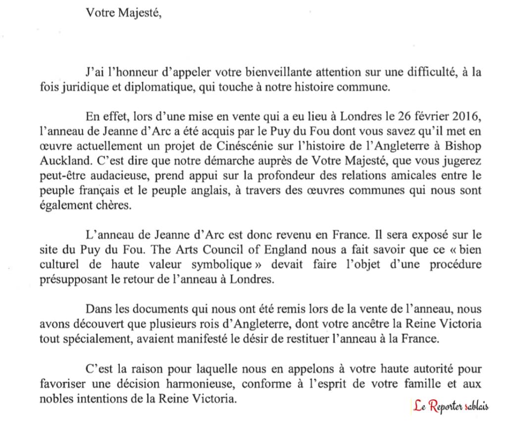 Lettre de Nicolas de Villiers à la Reine (version française)