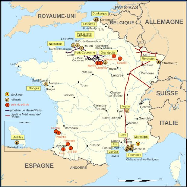 Carte des raffineries