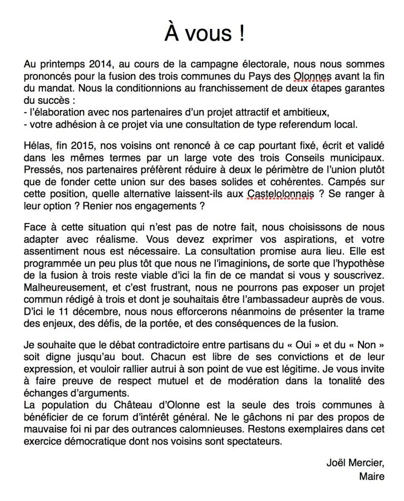 Edito de Joël Mercier sur la fusion et la consultation au Château d'Olonne