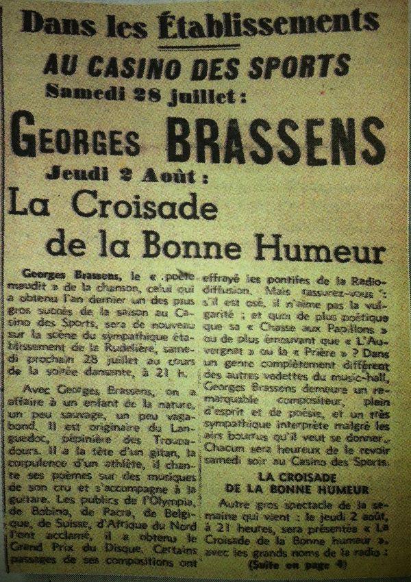 Georges Brassens aux Sables d'Olonne