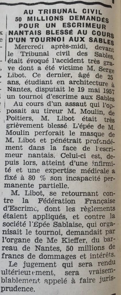 Serge Libeau - Accident d'Escrime 1959 - Les sables d'Olonne