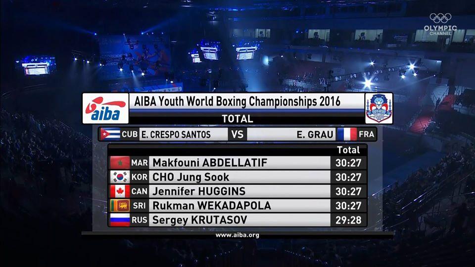 1/2 finale perdu par Enzo Grau aux championnats du monde 2016 juinors à St-Petersbourg