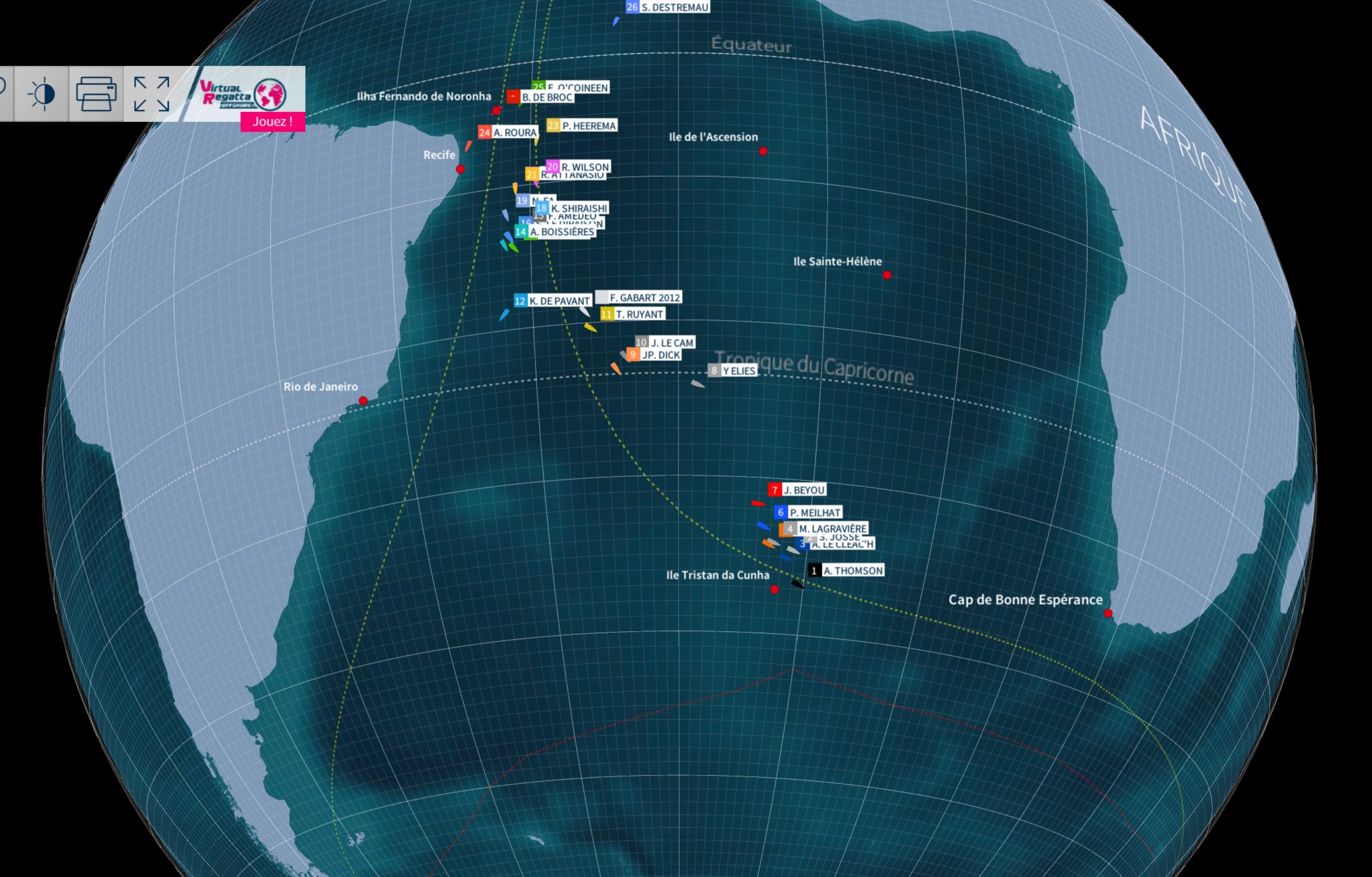 Vendée Globe - Position des skippers le lundi 21 novembre 2016 à 15h