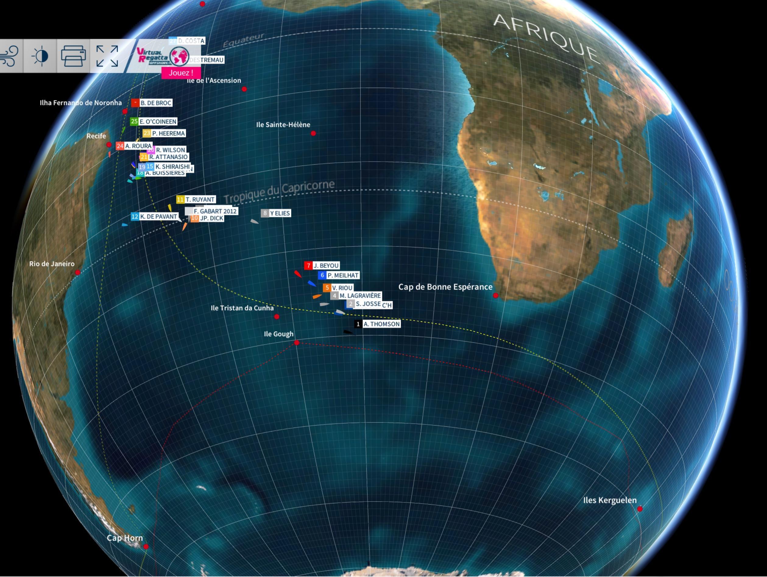 Vendée Globe 2016 - Position des skippers au mardi 22 novembre à midi