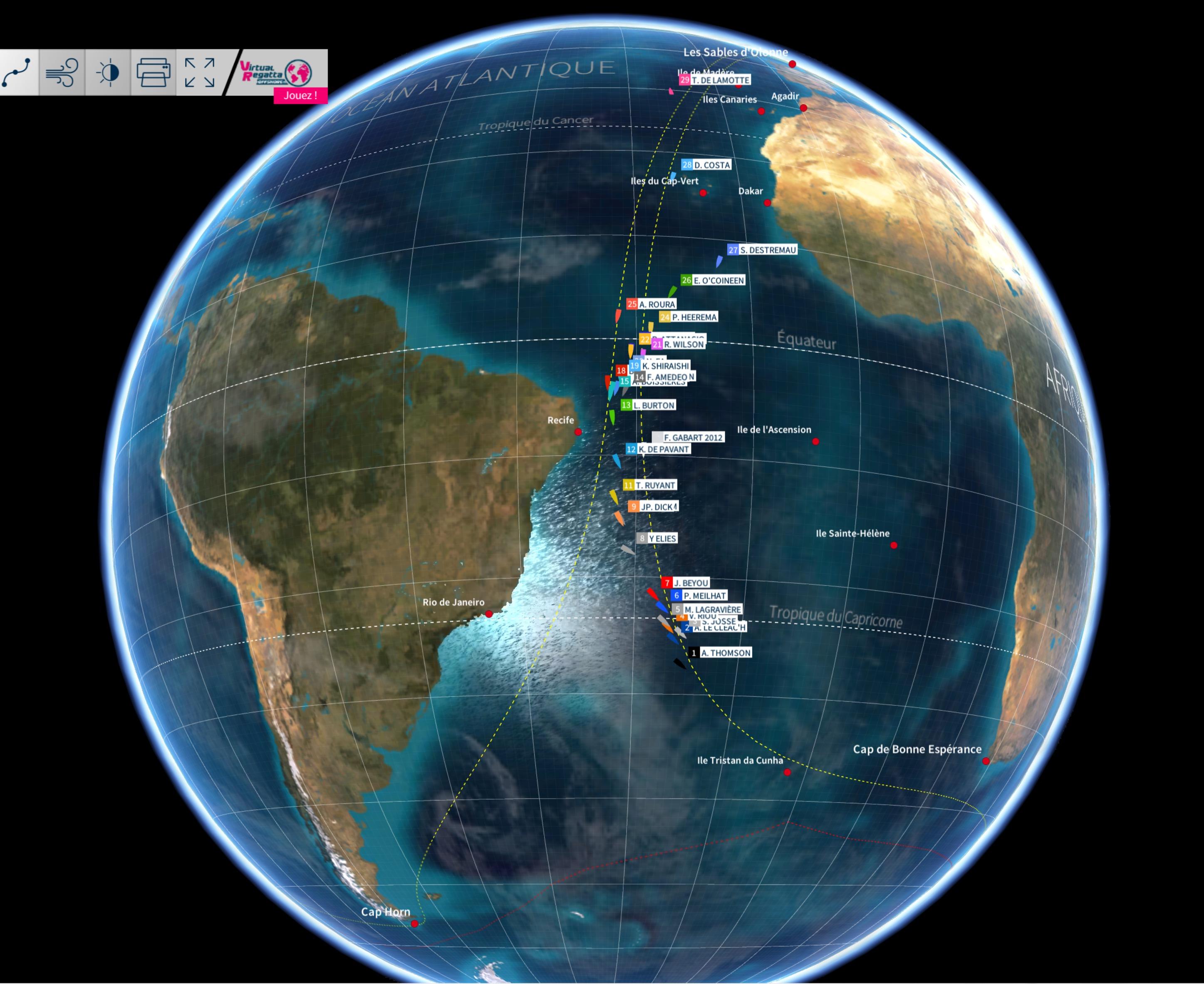 Vendée Globe 2016 - Position de tous les skippers sur le globe le samedi 19 novembre à 15h00