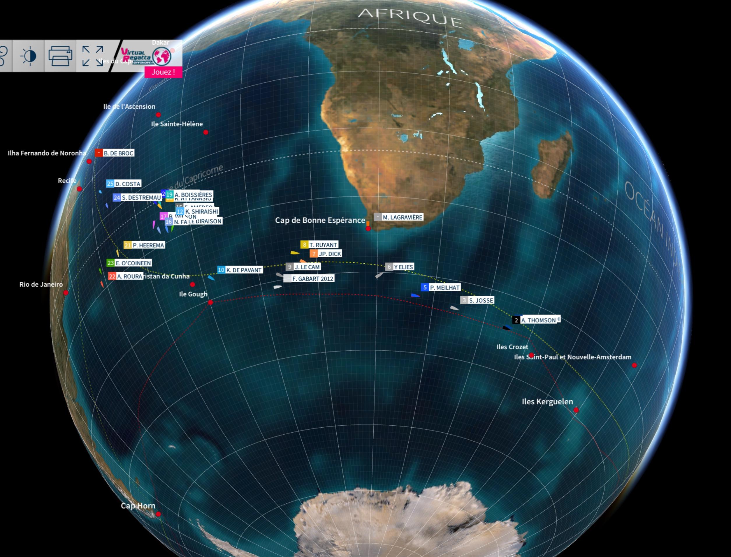 Vendée Globe 2016 - Classement des skippers sur le globe